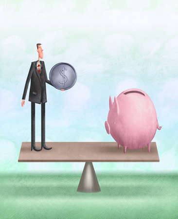 Man with coin on a teeter totter with  piggy bank