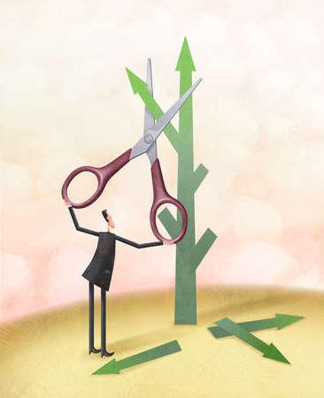 Man with scissor pruning arrows side shoot from main arrow
