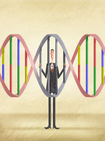 Man behind bars shaped like DNA Stands