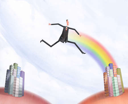 Man being led to a city by a rainbow