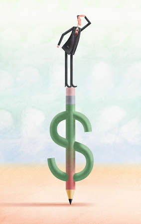 Man standing on top of pencil in the shape of a dollar sign, looking into the future