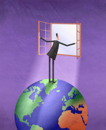 Man Standing on Globe Look Through A Window