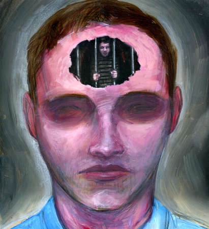 Man with hole in forehead showing a man behind bars