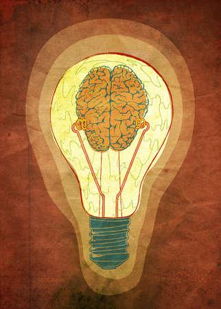 Brain encased in a lit light bulb