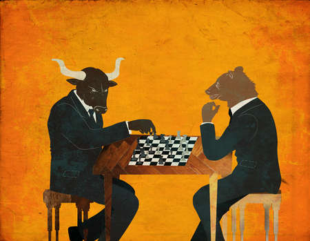 Bull and Bear playing chess