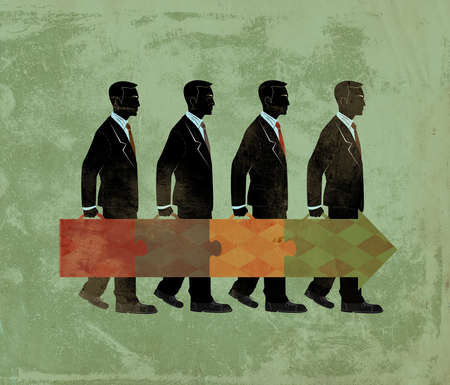 Businessmen in a line with their briefcases forming a forward arrow