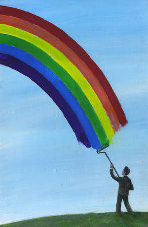 Man painting a rainbow in the sky