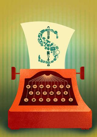 Typewriter typing dollar sign onto page
