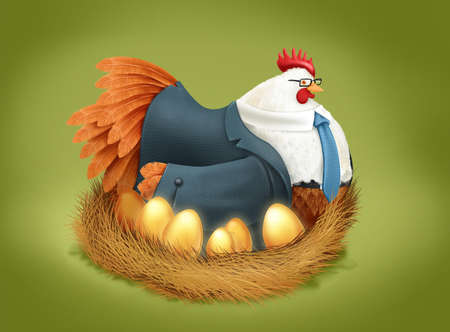 Chicken in business suit roosting on nest of golden eggs