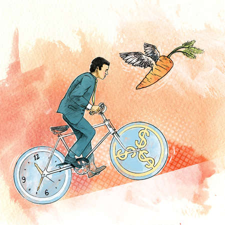 Man on a bike made of money and a clock, chasing a carrot