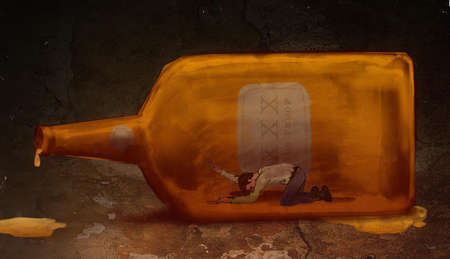 Man trapped in a liquor bottle