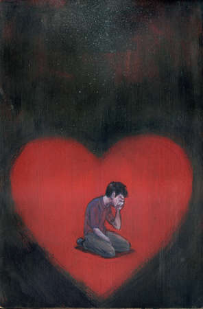 Heart containing crying man