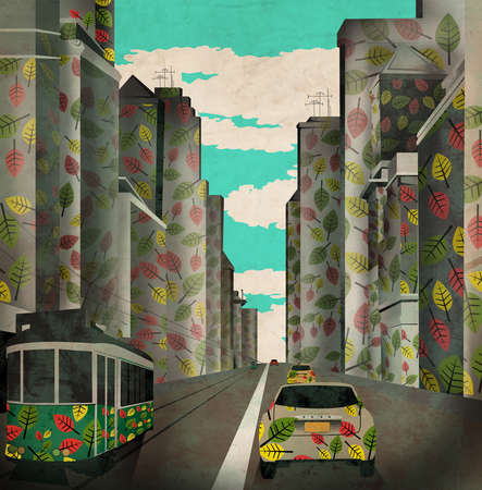 Car and tram in a green city