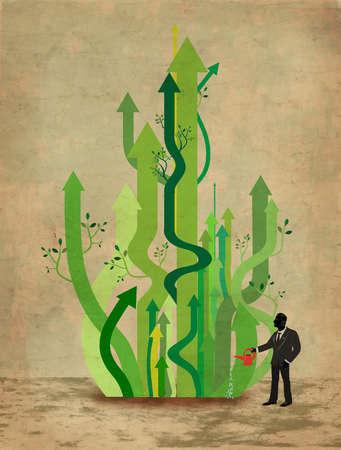 Man watering plant in the shape of upward arrowes
