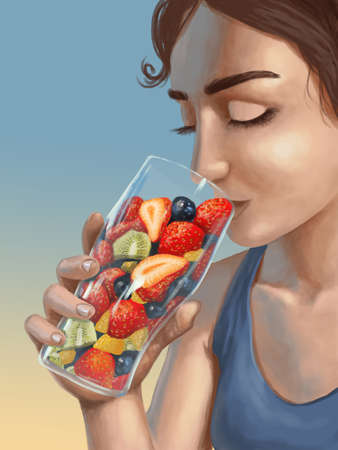 Woman drinking out of glass full of whole fruits