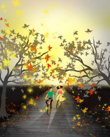 Couple riding bikes on an autumn day among trees with falling leaves