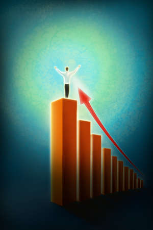 Man standing on top of graph bar with upward arrow