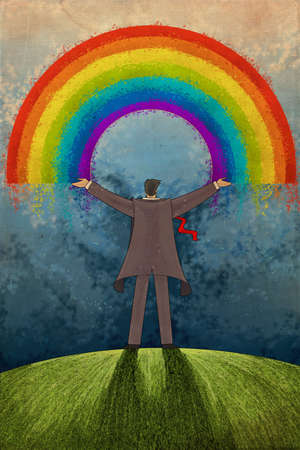Man with uplifted arms facing rainbow