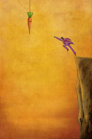 Man jumping off cliff to reach for a carrot