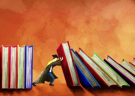 Graduate propping up falling books