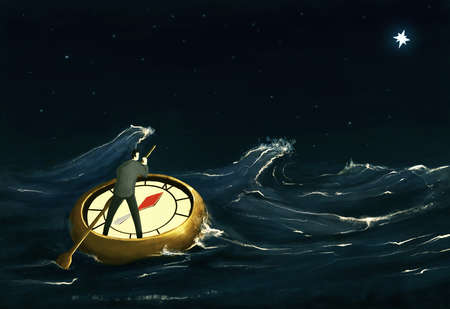 Man on stormy sea on a compass looking at the north Star