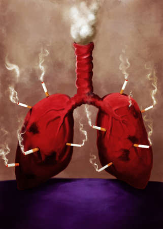 pair of lungs with lit cigarettes