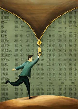 man unzipping stock market table