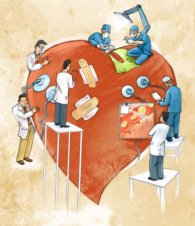 doctors working on a heart