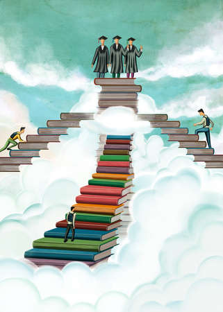 Students climbing stairs made out of books