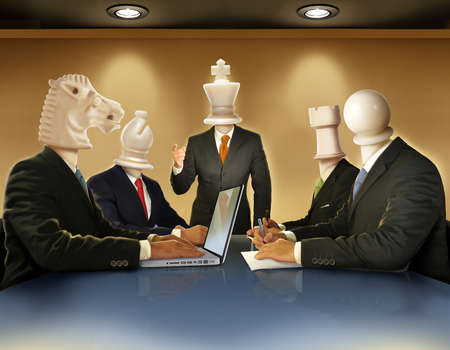 Businessmen with heads like chess pieces in a boardroom meeting