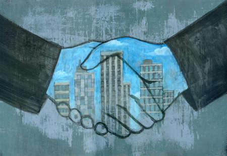 Handshake with image of city