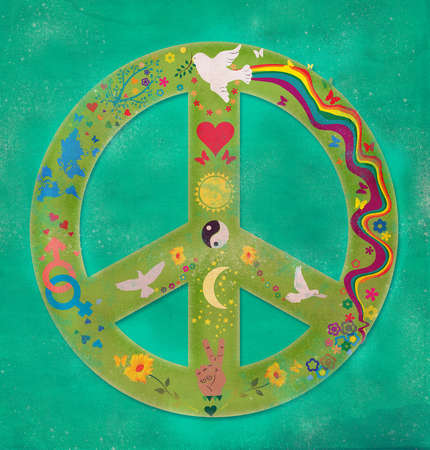 Peace sign with birds,doves,rainbow,flowers