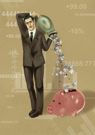 Man pouring money into piggy bank