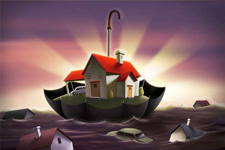 House floating in water in an umbrella, the rest of the houses sinking