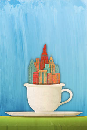 City growing out of a coffee cup