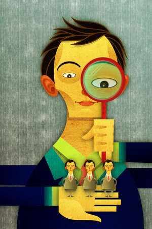 Recruiter looking at candidates through a magnifying glass