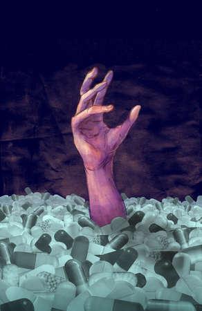 Hand reaching up through a mountain of pills
