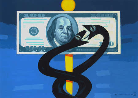 Caduceus as two snakes fighting over a $100 bill