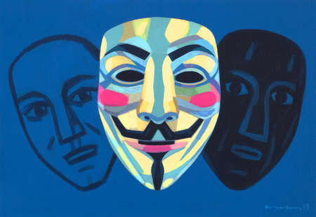 Two people hiding behind Anonymous mask