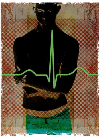 Silhouette of Boy with ECG Wave