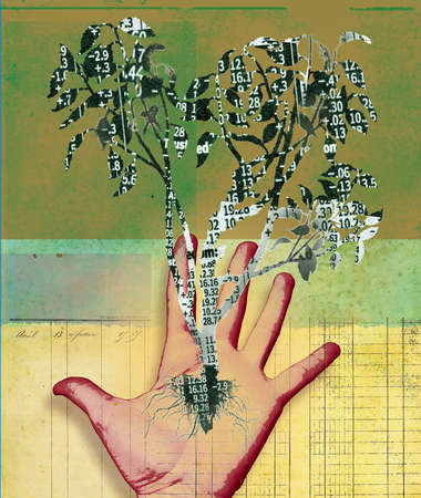 Open Hand in front of ledger with tree of numbers growing out of palm