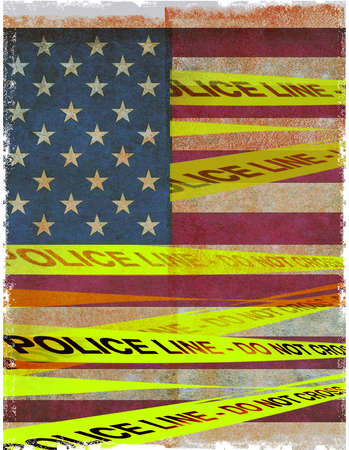 US Flag with Do Not Cross Police Tape