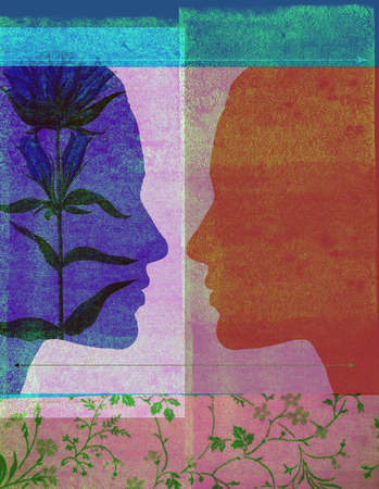 Two silhouetted profiles, one with a superimposed flower