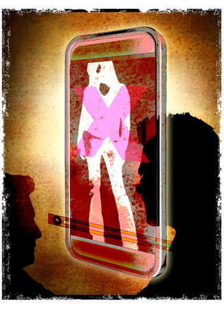 Two profiles in Silhouette looking at a girl on a smart phone covered with an X