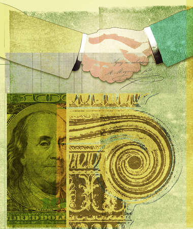 Montage of handshake,Greek column and One Hundred Dollar Bill