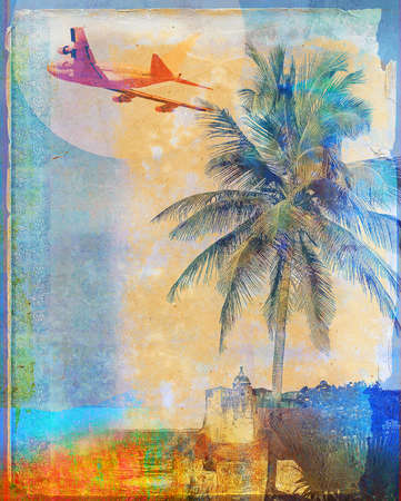 Plane Flying over palm tree and resort town