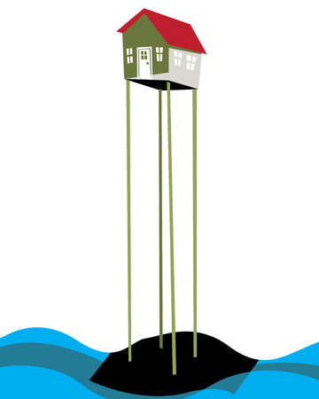 House on stilts in water