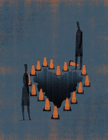 A man and woman meet at heart-shaped hole surrounded by safety cones