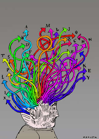 Man with many multicolored arrows emanating from his head