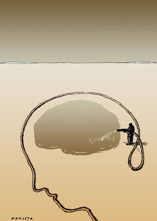 Water hose in the shape of a man's profile, with another man watering his brain